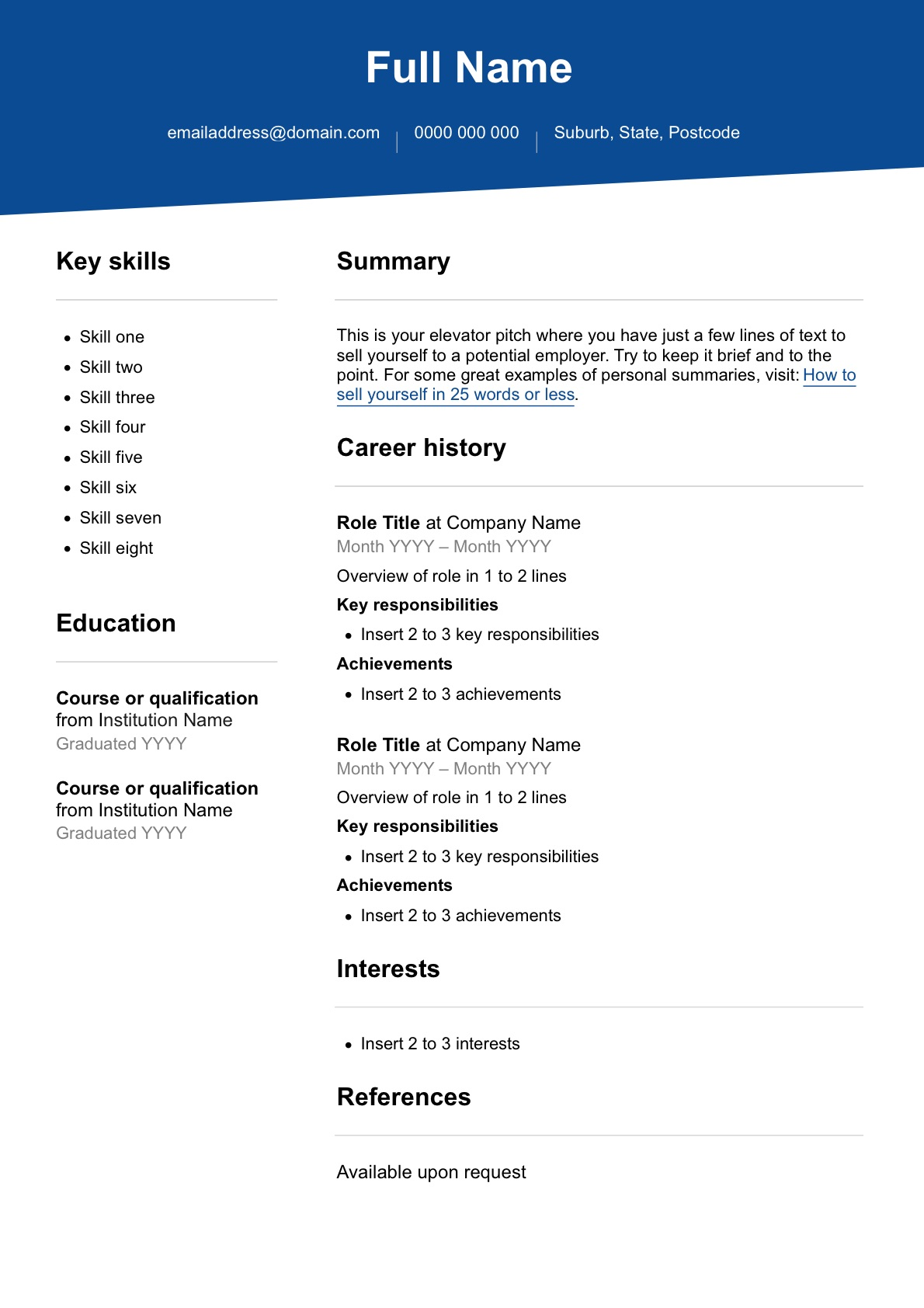 Resume Document Template from cdn.seeklearning.com.au